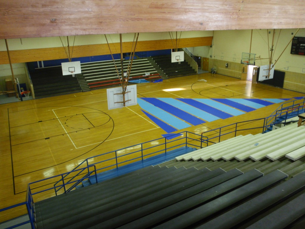 Sail laid out on gym floor